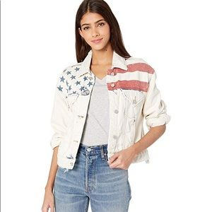 NWT Blank NYC Light Wash Denim Jacket Flag Detail